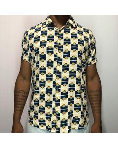 Camisa Duo Mosaico-Azul-P
