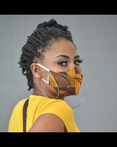 Máscara 3D em tecido africano - Samakaka