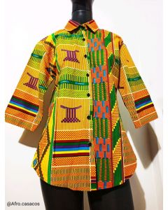 Camisa chic de estampa africano Kente -Unissex