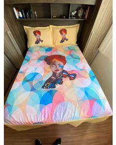 Jogo de cama estampa mulher turbante