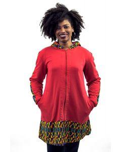 Casaco Moletom e Recorte em Tecido Africano II-EGG