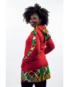 Casaco Moletom e Recorte em Tecido Africano I-M