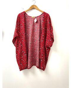 Kimono Animal Print Vermelho-unico