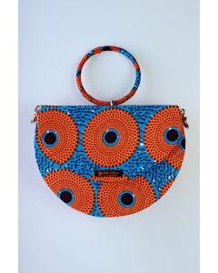 Bolsa Meia Lua em Tecido Africano 001 (Peça única exclusiva)