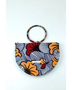 Bolsa Meia Lua em Tecido Africano 003 (Peça única exclusiva)