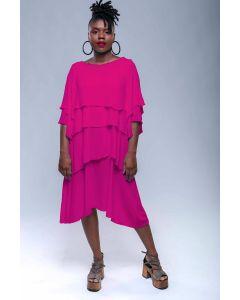 Vestido Glória Amarelo Maxi-Rosa Pink-PP