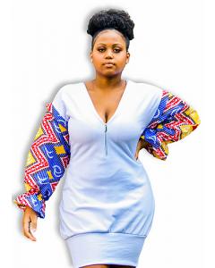 Vestido de Moletom, com Manga Removível Africana