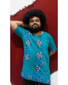 Bata Afro com tecido africano-Azul-P