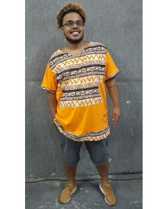 Bata Afro com tecido africano-Laranja-P