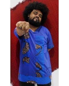 Bata Afro com tecido africano-Preto-M