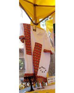 Bata Afro com tecido africano-Branco-P