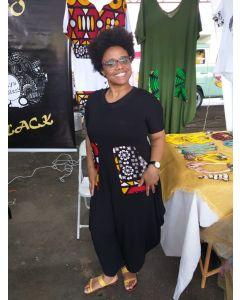 Macacão Afro Com Mangas e Tecido Africano