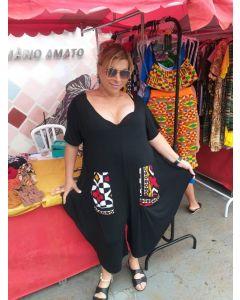 Macacão Afro Com Mangas e Tecido Africano-Vermelho-GG