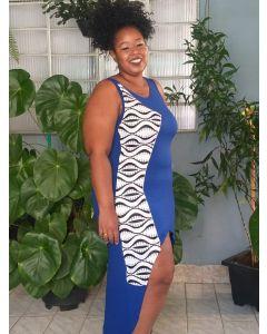 Vestido Afro Sereia Regata-Azul-GG