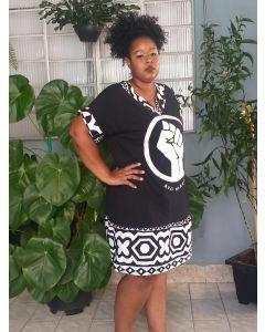 Vestido Resistência Com Tecido Africano-Preto-G4