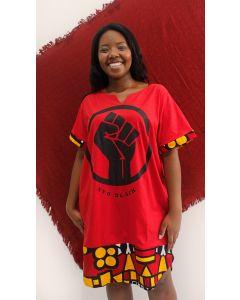 Vestido Resistência Com Tecido Africano-Vermelho-G