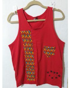Camiseta Regata Afro Com Tecido Africano-Vermelho-P
