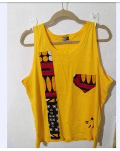 Camiseta Regata Afro Com Tecido Africano-Amarelo-P