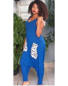 Macacão Afro Saruel Regata-Azul-GG
